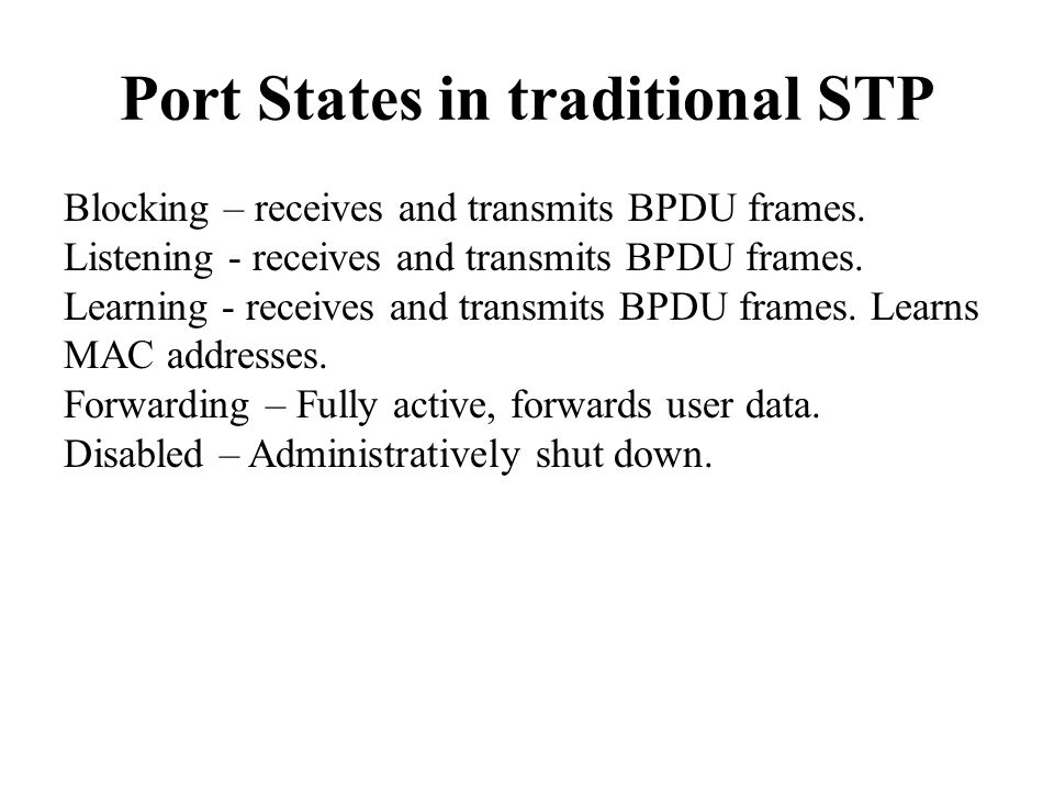 Port States in traditional STP Blocking – receives and transmits BPDU frames.