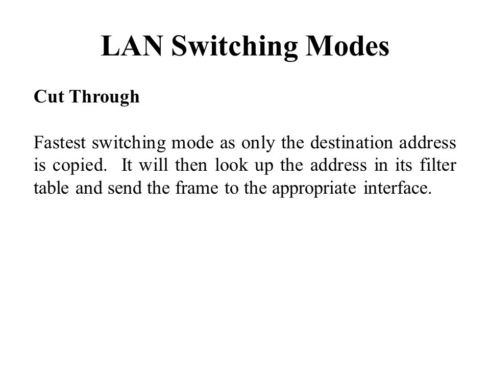 LAN Switching Modes Cut Through Fastest switching mode as only the destination address is copied.