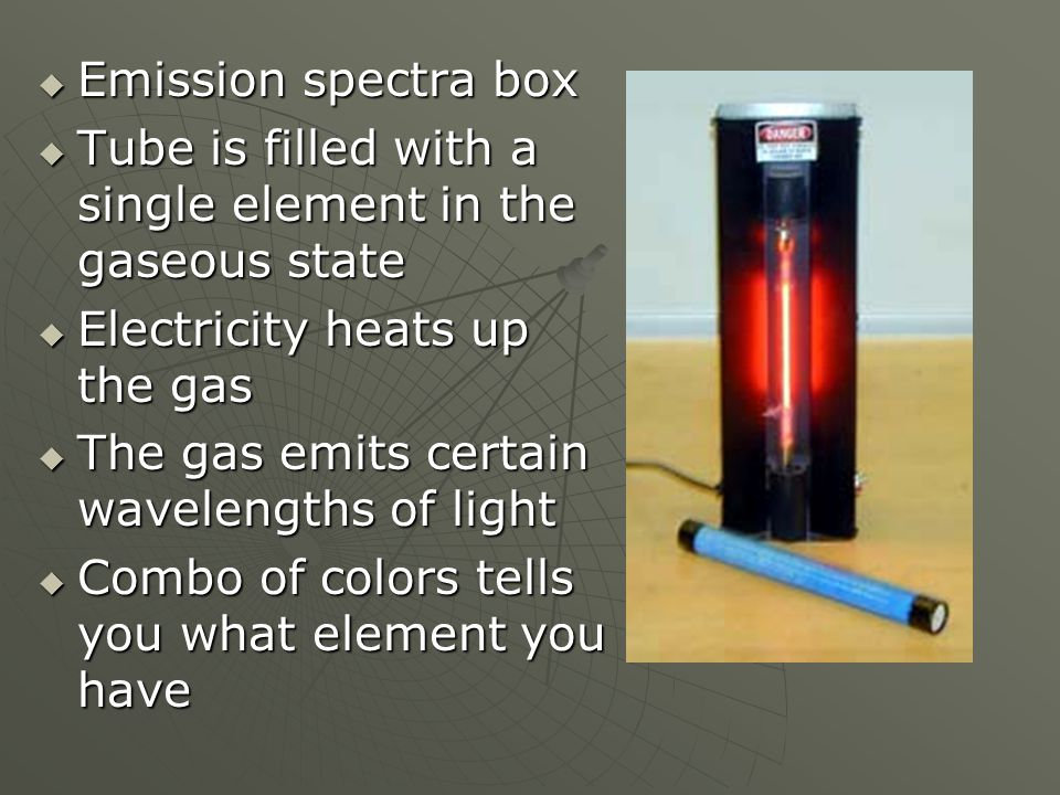  Emission spectra box  Tube is filled with a single element in the gaseous state  Electricity heats up the gas  The gas emits certain wavelengths of light  Combo of colors tells you what element you have