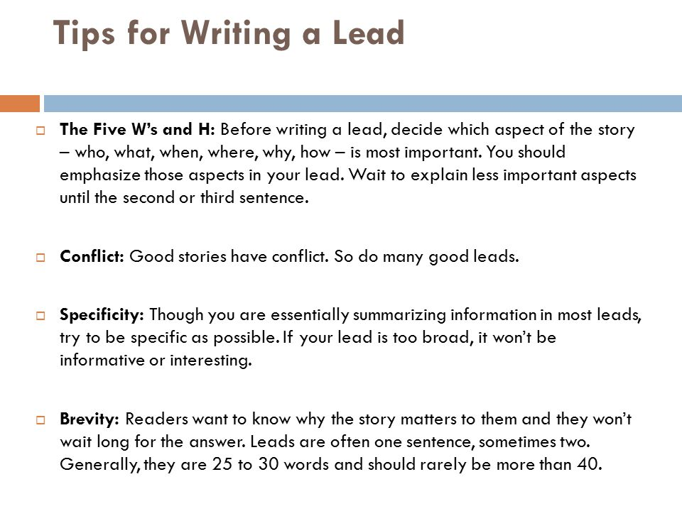 WRITING EFFECTIVE LEADS Information From And Ppt Download
