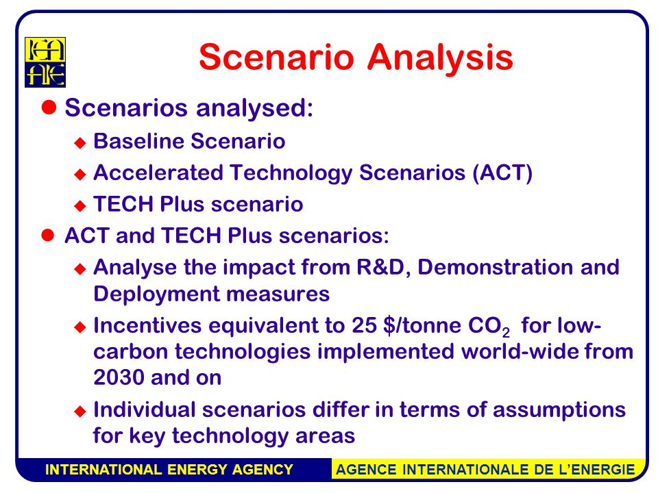 INTERNATIONAL ENERGY AGENCY AGENCE INTERNATIONALE DE L'ENERGIE Scenario Analysis Scenarios analysed:  Baseline Scenario  Accelerated Technology Scenarios (ACT)  TECH Plus scenario ACT and TECH Plus scenarios:  Analyse the impact from R&D, Demonstration and Deployment measures  Incentives equivalent to 25 $/tonne CO 2 for low- carbon technologies implemented world-wide from 2030 and on  Individual scenarios differ in terms of assumptions for key technology areas