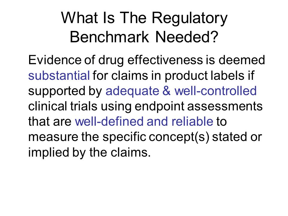 What Is The Regulatory Benchmark Needed.