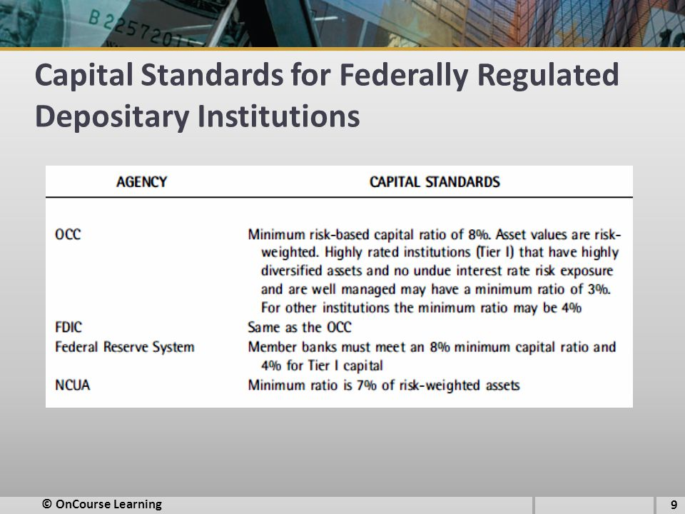 Capital Standards for Federally Regulated Depositary Institutions 9 © OnCourse Learning