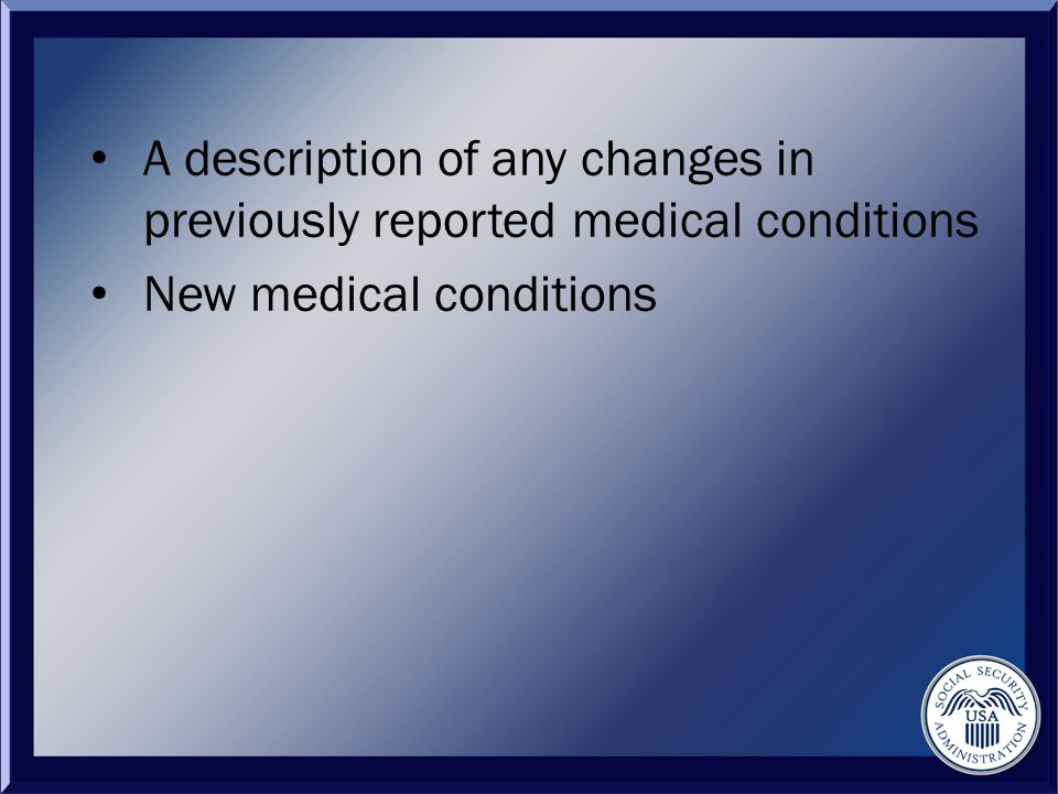 New medical conditions