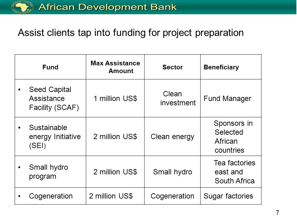 7 Assist clients tap into funding for project preparation Fund Max Assistance Amount SectorBeneficiary Seed Capital Assistance Facility (SCAF) 1 million US$ Clean investment Fund Manager Sustainable energy Initiative (SEI ) 2 million US$Clean energy Sponsors in Selected African countries Small hydro program 2 million US$Small hydro Tea factories east and South Africa Cogeneration2 million US$CogenerationSugar factories