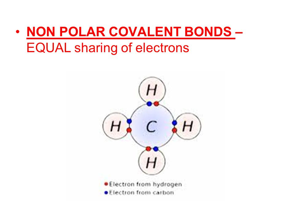 NON POLAR COVALENT BONDS – EQUAL sharing of electrons