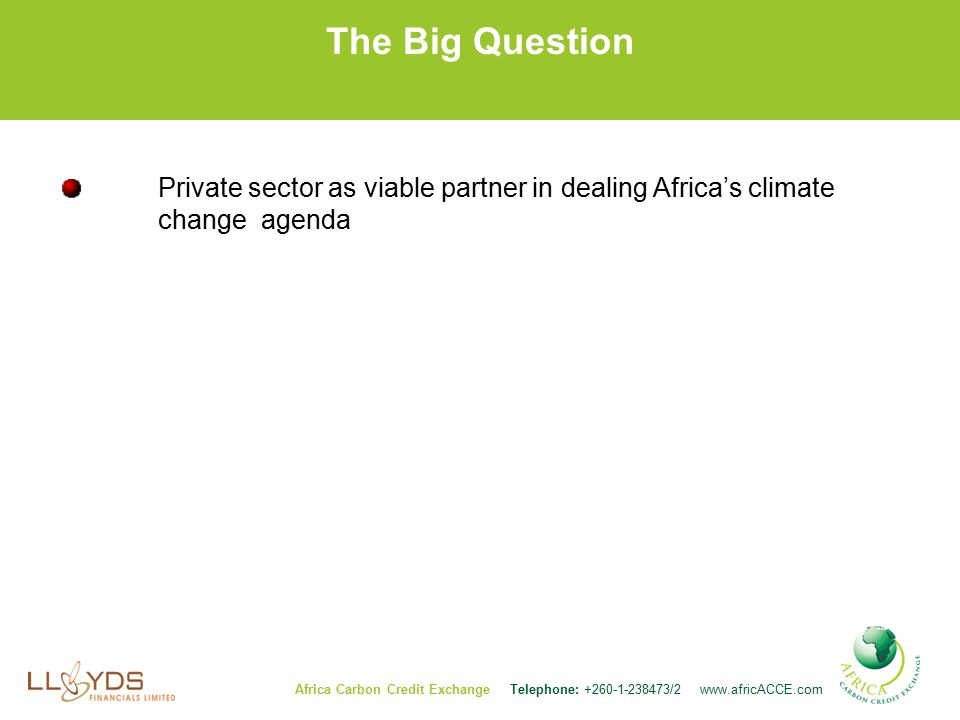 The Big Question Private sector as viable partner in dealing Africa's climate change agenda Africa Carbon Credit Exchange Telephone: /2
