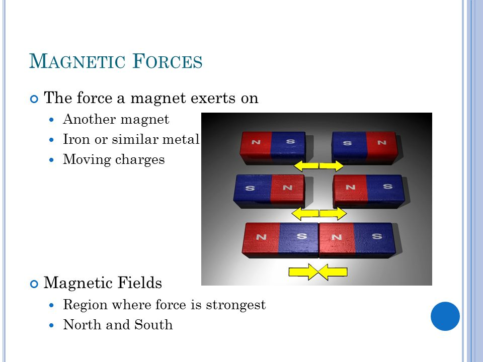 M AGNETIC F ORCES The force a magnet exerts on Another magnet Iron or similar metal Moving charges Magnetic Fields Region where force is strongest North and South