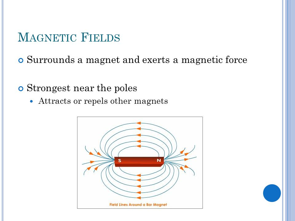M AGNETIC F IELDS Surrounds a magnet and exerts a magnetic force Strongest near the poles Attracts or repels other magnets