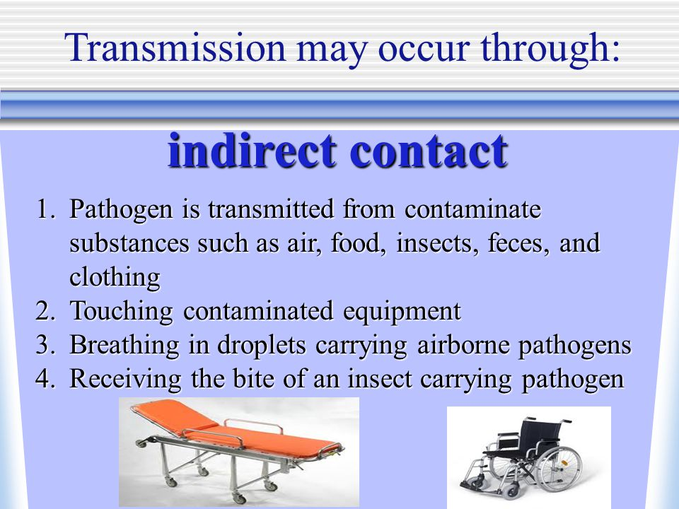 Transmission may occur through: indirect contact 1.Pathogen is transmitted from contaminate substances such as air, food, insects, feces, and clothing 2.Touching contaminated equipment 3.Breathing in droplets carrying airborne pathogens 4.Receiving the bite of an insect carrying pathogen