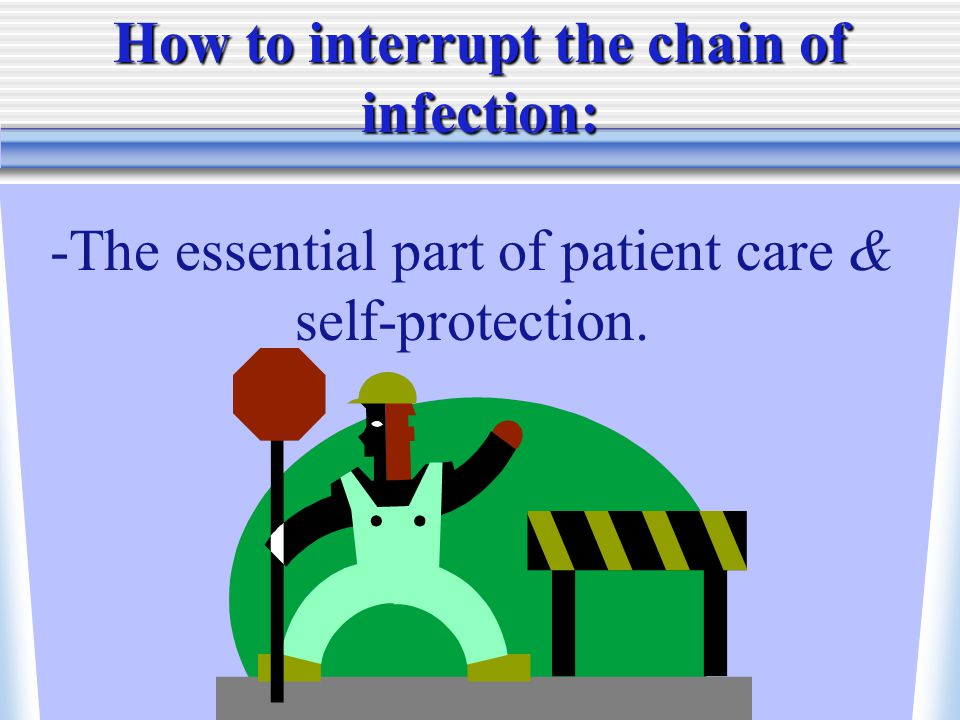 -The essential part of patient care & self-protection. How to interrupt the chain of infection: