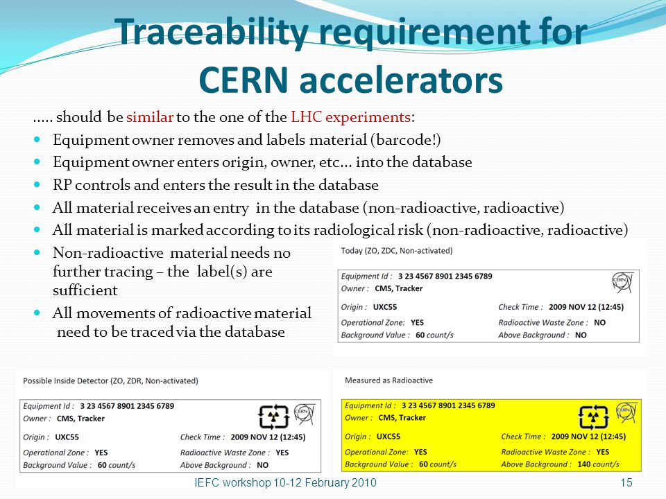 Traceability requirement for CERN accelerators.....
