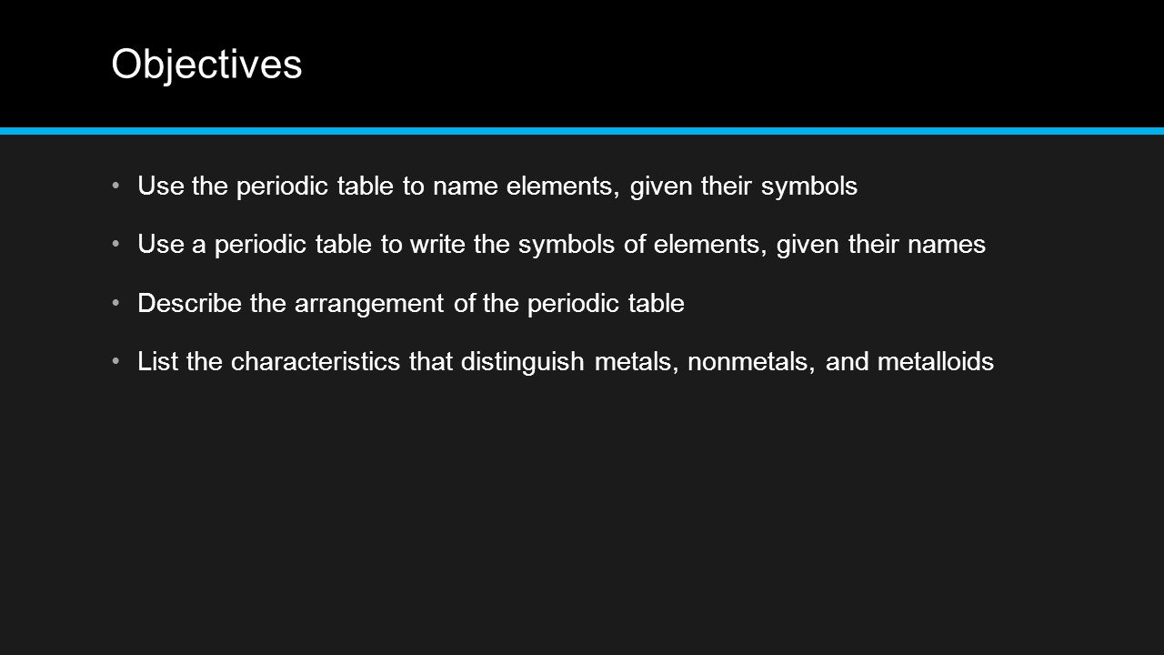 Elements section 3 objectives use the periodic table to name 12 objectives use the periodic table to name elements given their urtaz Choice Image