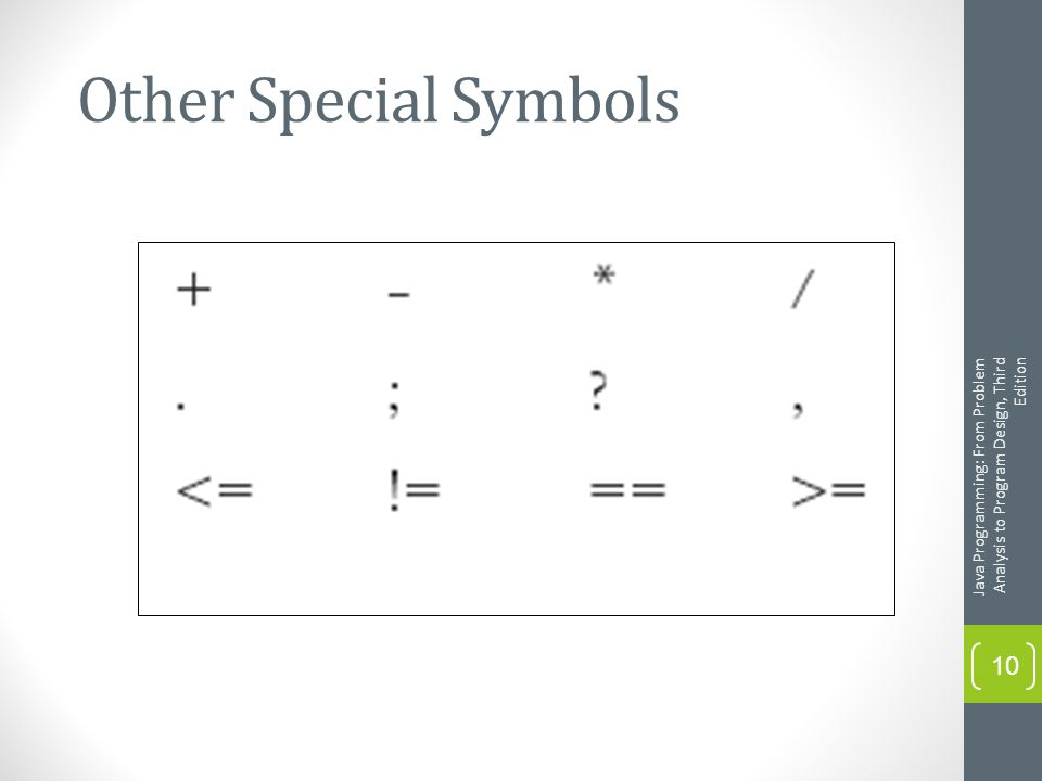 Other Special Symbols Java Programming: From Problem Analysis to Program Design, Third Edition 10
