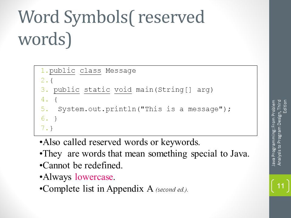 Word Symbols( reserved words) 1.public class Message 2.{ 3.