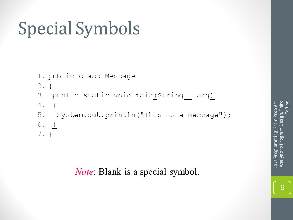Special Symbols Java Programming: From Problem Analysis to Program Design, Third Edition 9 1.public class Message 2.{ 3.
