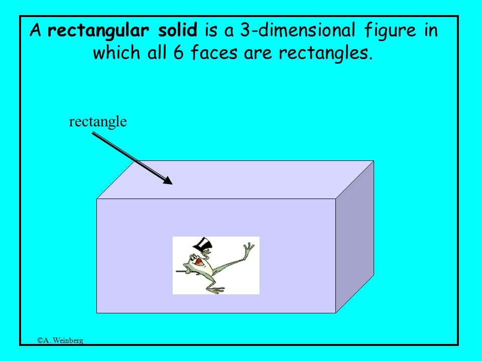 ©A. Weinberg A rectangular solid is a 3-dimensional figure in which all 6 faces are rectangles.