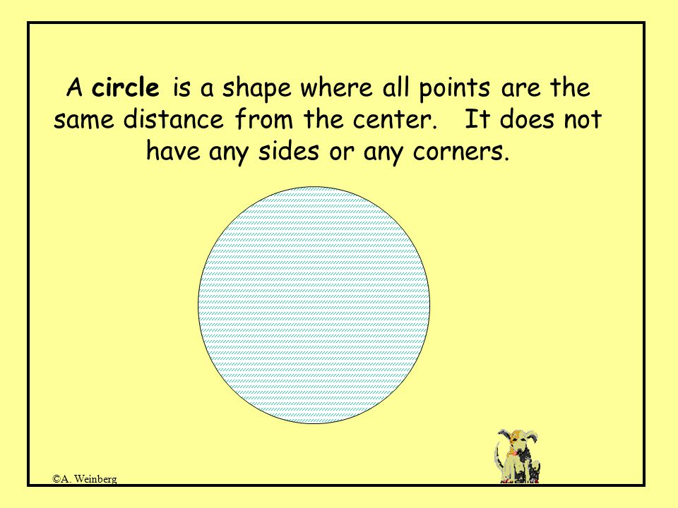 ©A. Weinberg A circle is a shape where all points are the same distance from the center.
