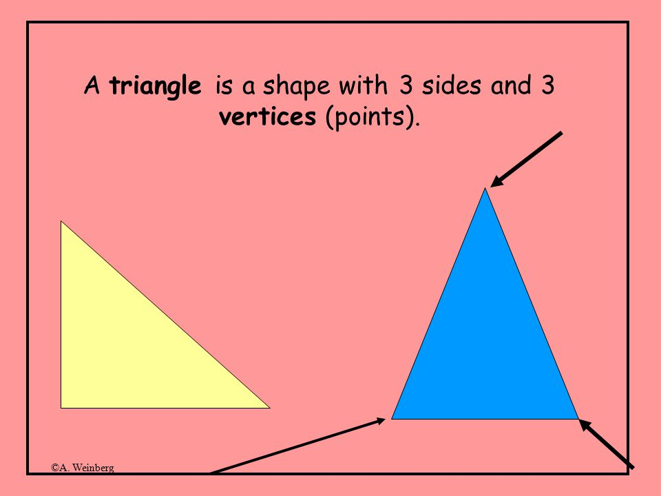 ©A. Weinberg A triangle is a shape with 3 sides and 3 vertices (points).