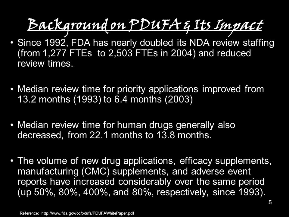 5 Background on PDUFA & Its Impact Since 1992, FDA has nearly doubled its NDA review staffing (from 1,277 FTEs to 2,503 FTEs in 2004) and reduced review times.