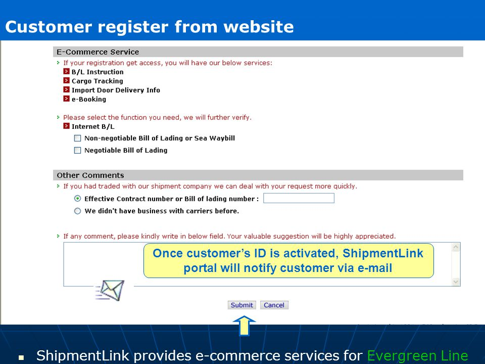 ShipmentLink About Register ShipmentLink provides e-commerce