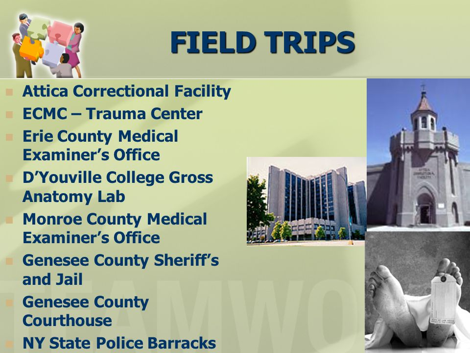 FIELD TRIPS Attica Correctional Facility ECMC – Trauma Center Erie County Medical Examiner's Office D'Youville College Gross Anatomy Lab Monroe County Medical Examiner's Office Genesee County Sheriff's and Jail Genesee County Courthouse NY State Police Barracks
