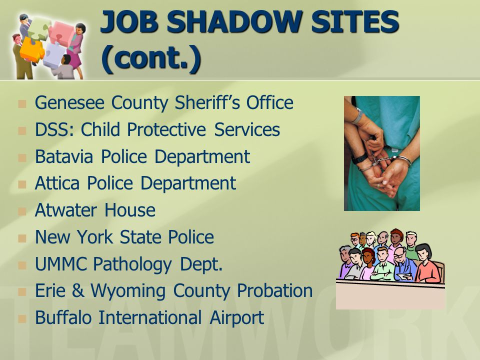 JOB SHADOW SITES (cont.) Genesee County Sheriff's Office DSS: Child Protective Services Batavia Police Department Attica Police Department Atwater House New York State Police UMMC Pathology Dept.