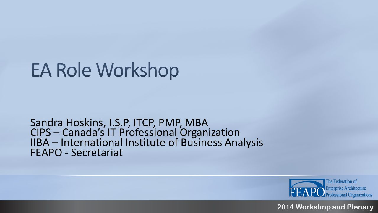 2014 Workshop and Plenary Sandra Hoskins, I.S.P, ITCP, PMP, MBA CIPS – Canada's IT Professional Organization IIBA – International Institute of Business Analysis FEAPO - Secretariat
