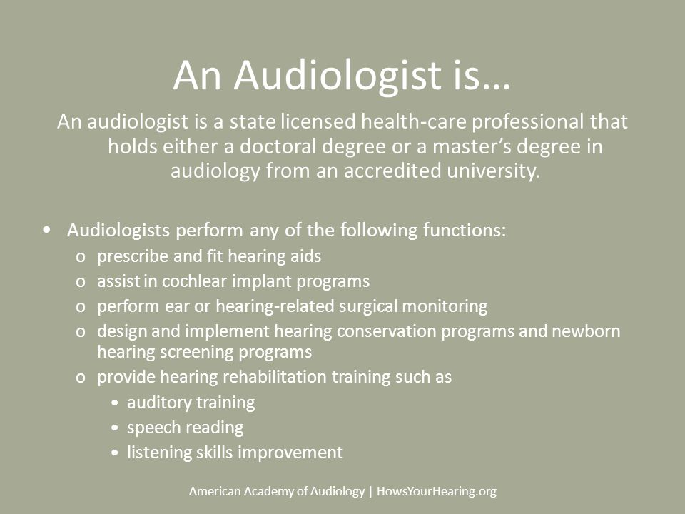 American Academy Of Audiology Howsyourhearing An Audiologist