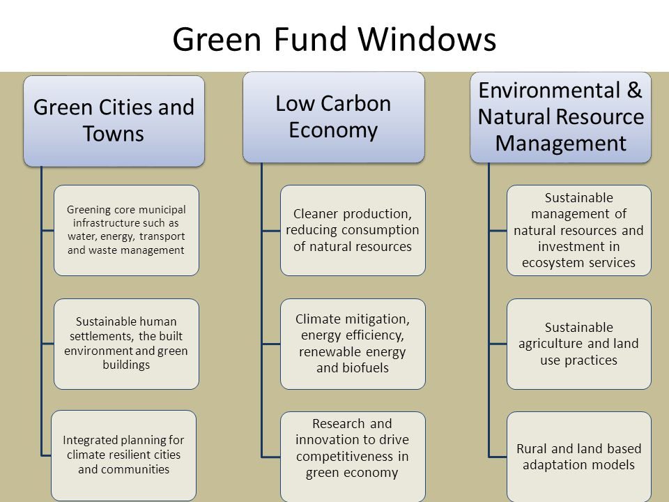 Green Fund Windows Green Cities and Towns Greening core municipal infrastructure such as water, energy, transport and waste management Sustainable human settlements, the built environment and green buildings Integrated planning for climate resilient cities and communities Low Carbon Economy Cleaner production, reducing consumption of natural resources Climate mitigation, energy efficiency, renewable energy and biofuels Research and innovation to drive competitiveness in green economy Environmental & Natural Resource Management Sustainable management of natural resources and investment in ecosystem services Sustainable agriculture and land use practices Rural and land based adaptation models