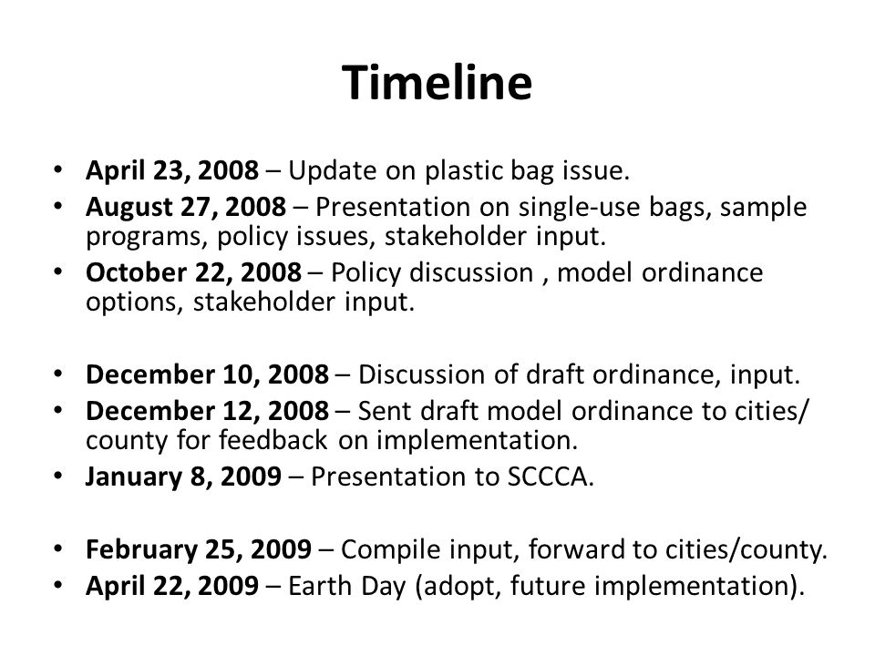 Timeline April 23 2008 Update On Plastic Bag Issue
