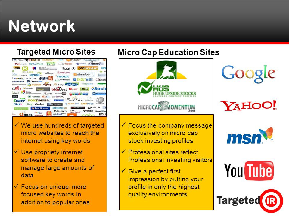 Network We use hundreds of targeted micro websites to reach the internet using key words Use propriety internet software to create and manage large amounts of data Focus on unique, more focused key words in addition to popular ones Targeted Micro Sites Micro Cap Education Sites Focus the company message exclusively on micro cap stock investing profiles Professional sites reflect Professional investing visitors Give a perfect first impression by putting your profile in only the highest quality environments