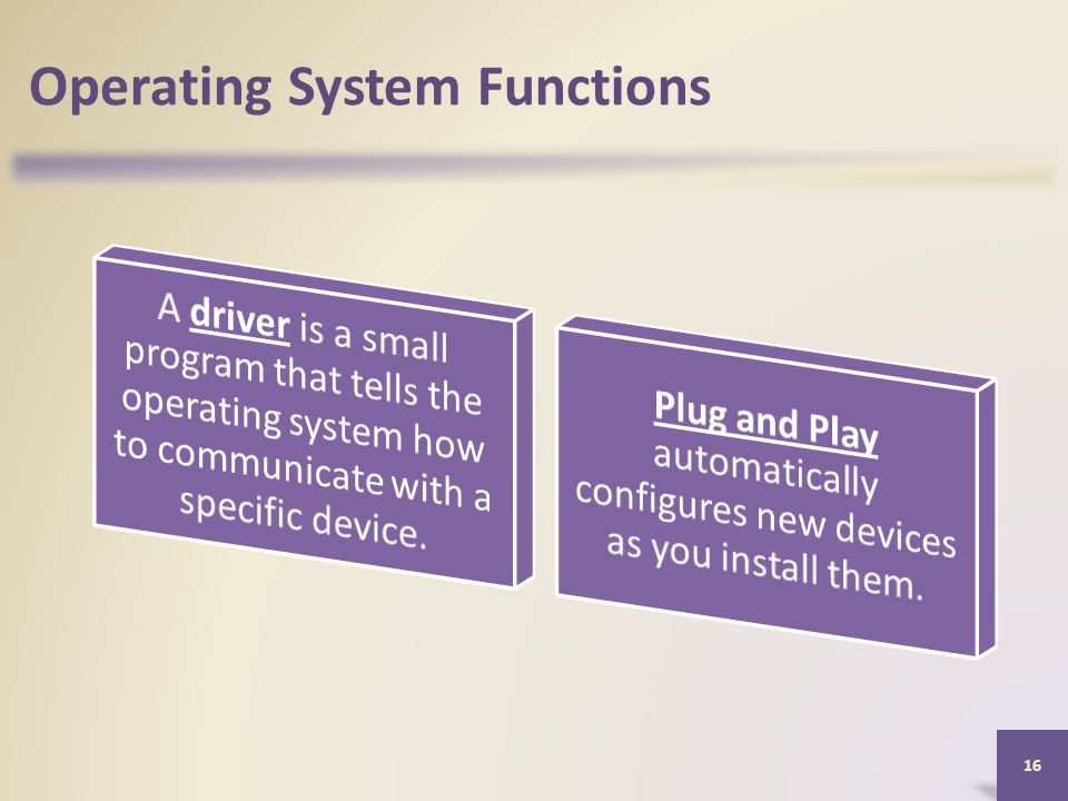 Operating System Functions 16