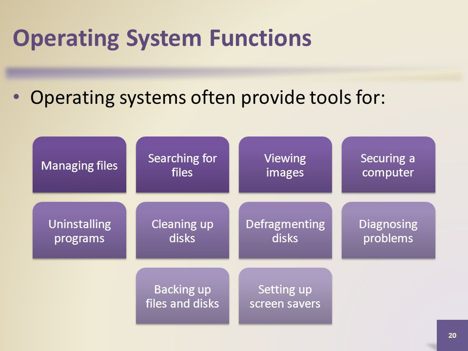 Operating System Functions Operating systems often provide tools for: 20 Managing files Searching for files Viewing images Securing a computer Uninstalling programs Cleaning up disks Defragmenting disks Diagnosing problems Backing up files and disks Setting up screen savers