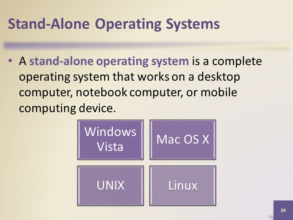 Stand-Alone Operating Systems A stand-alone operating system is a complete operating system that works on a desktop computer, notebook computer, or mobile computing device.