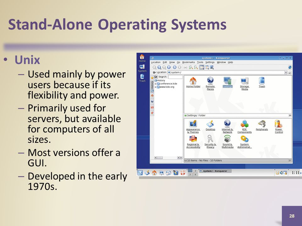 Stand-Alone Operating Systems Unix – Used mainly by power users because if its flexibility and power.