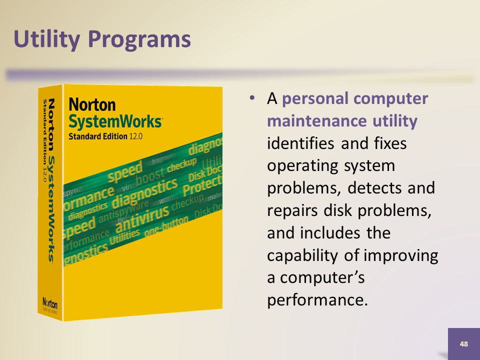 Utility Programs A personal computer maintenance utility identifies and fixes operating system problems, detects and repairs disk problems, and includes the capability of improving a computer's performance.