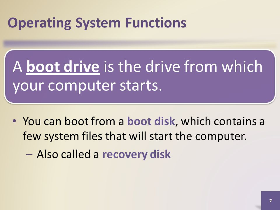 A boot drive is the drive from which your computer starts.
