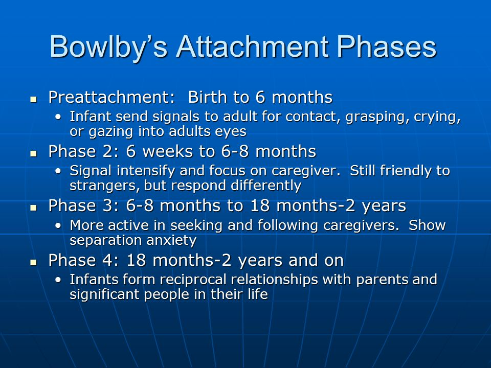 Bowlby's Attachment Phases Preattachment: Birth to 6 months Preattachment: Birth to 6 months Infant send signals to adult for contact, grasping, crying, or gazing into adults eyesInfant send signals to adult for contact, grasping, crying, or gazing into adults eyes Phase 2: 6 weeks to 6-8 months Phase 2: 6 weeks to 6-8 months Signal intensify and focus on caregiver.