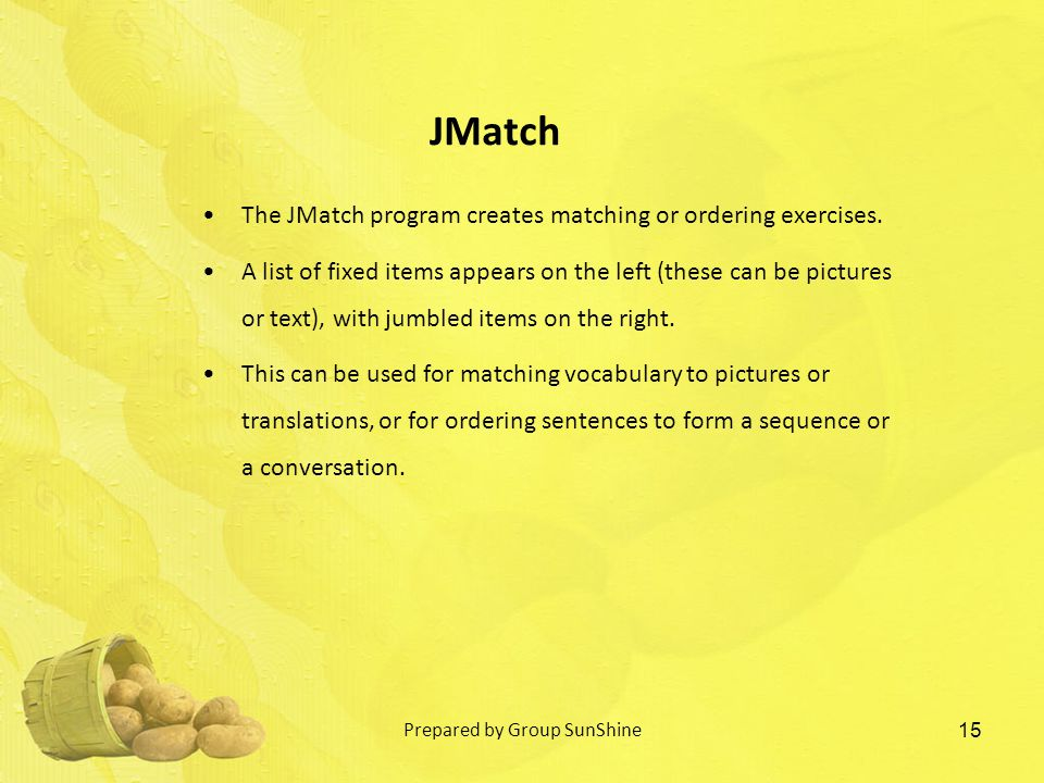 The JMatch program creates matching or ordering exercises.
