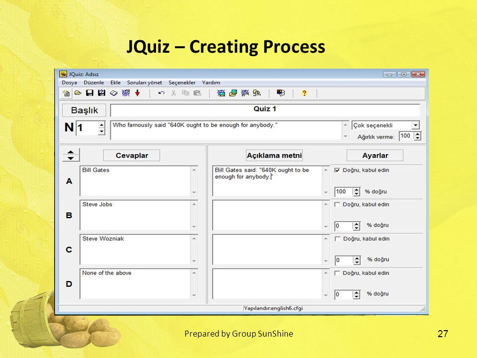 27 JQuiz – Creating Process Prepared by Group SunShine