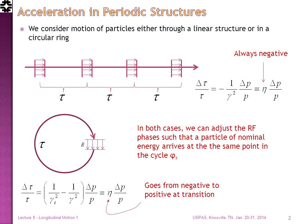  We consider motion of particles either through a linear structure or in a circular ring USPAS, Knoxville, TN, Jan.