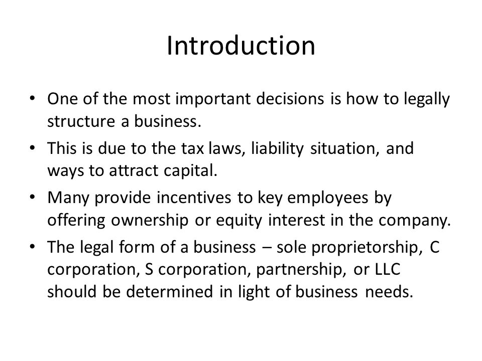 Chapter Setting Up The Company Objectives Best Form Of Ownership - Corporation legal form