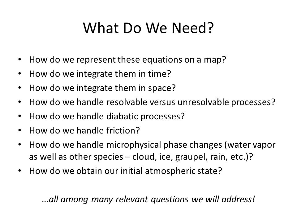 What Do We Need. How do we represent these equations on a map.