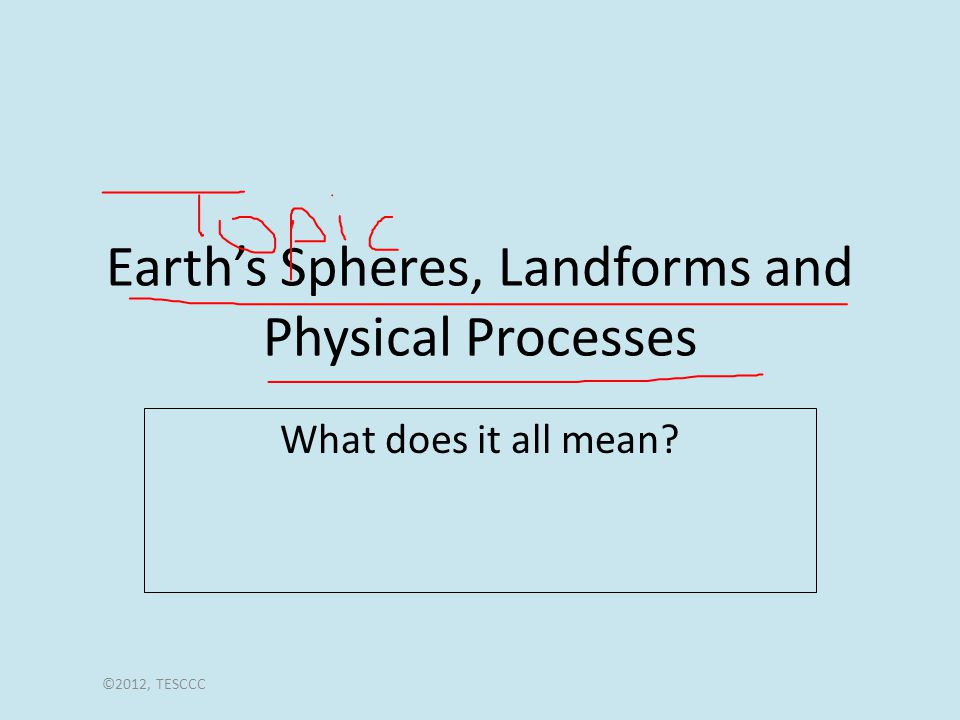 Earth's Spheres, Landforms and Physical Processes What does it all mean ©2012, TESCCC