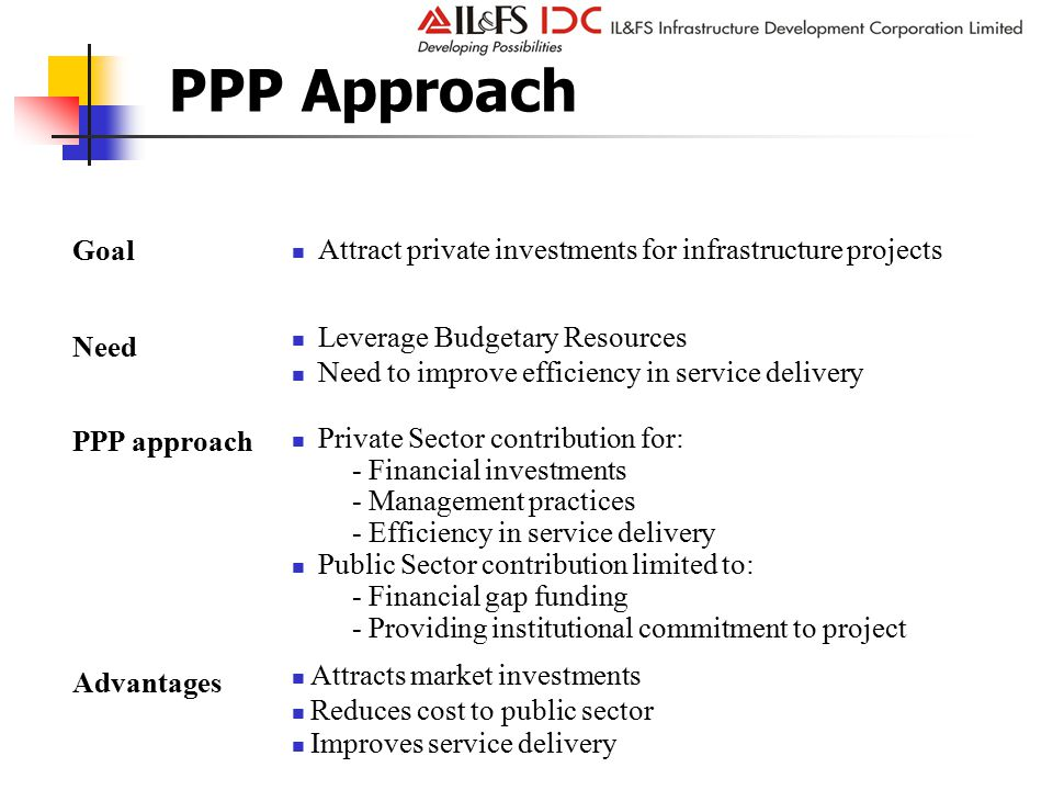 PPP Approach Leverage Budgetary Resources Need to improve efficiency in service delivery Need PPP approach Attract private investments for infrastructure projects Goal Attracts market investments Reduces cost to public sector Improves service delivery Advantages Private Sector contribution for: - Financial investments - Management practices - Efficiency in service delivery Public Sector contribution limited to: - Financial gap funding - Providing institutional commitment to project