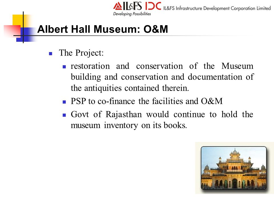 Albert Hall Museum: O&M The Project: restoration and conservation of the Museum building and conservation and documentation of the antiquities contained therein.