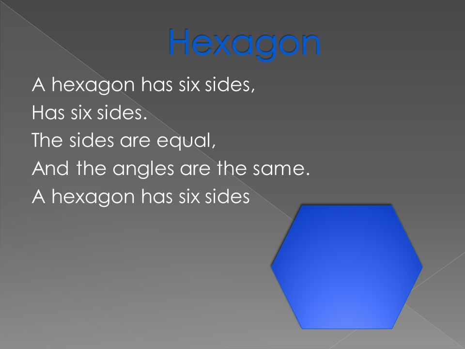 A hexagon has six sides, Has six sides. The sides are equal, And the angles are the same.