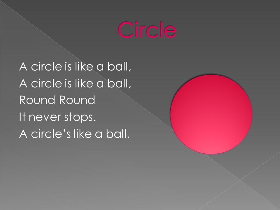 A circle is like a ball, Round It never stops. A circle's like a ball.