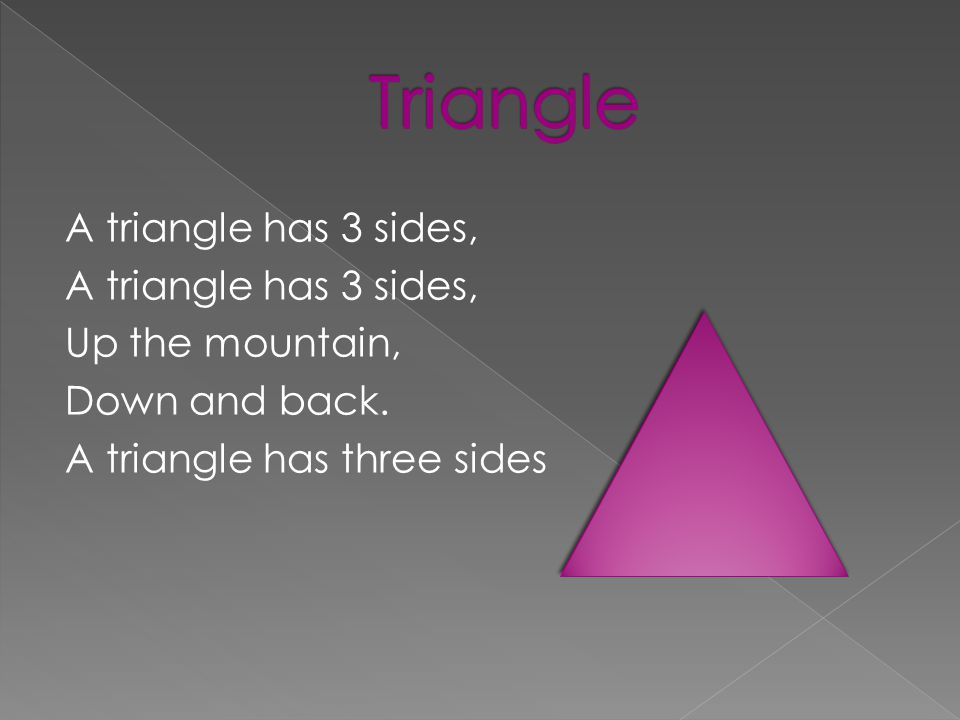 A triangle has 3 sides, Up the mountain, Down and back. A triangle has three sides